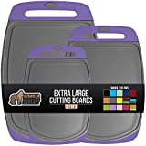 Gorilla Grip Original Oversized Cutting Board, 3 Piece, Juice Grooves, Larger Thicker Boards, Easy Grip Handle, Perfect for The Dishwasher, Non Porous, X Large, Kitchen, Set of 3, Purple Gray
