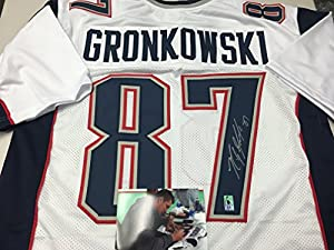 Rob Gronkowski Autographed Signed New England Patriots Custom Style White Jersey GRONK Exlcusive Player Hologram W/Photo From Signing