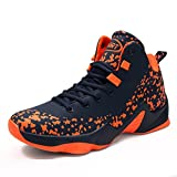 Scurtain Men's Performance Fashion Sneakers Sports High-top Basketball Shoes Size 40-46 (7.5, Orange)