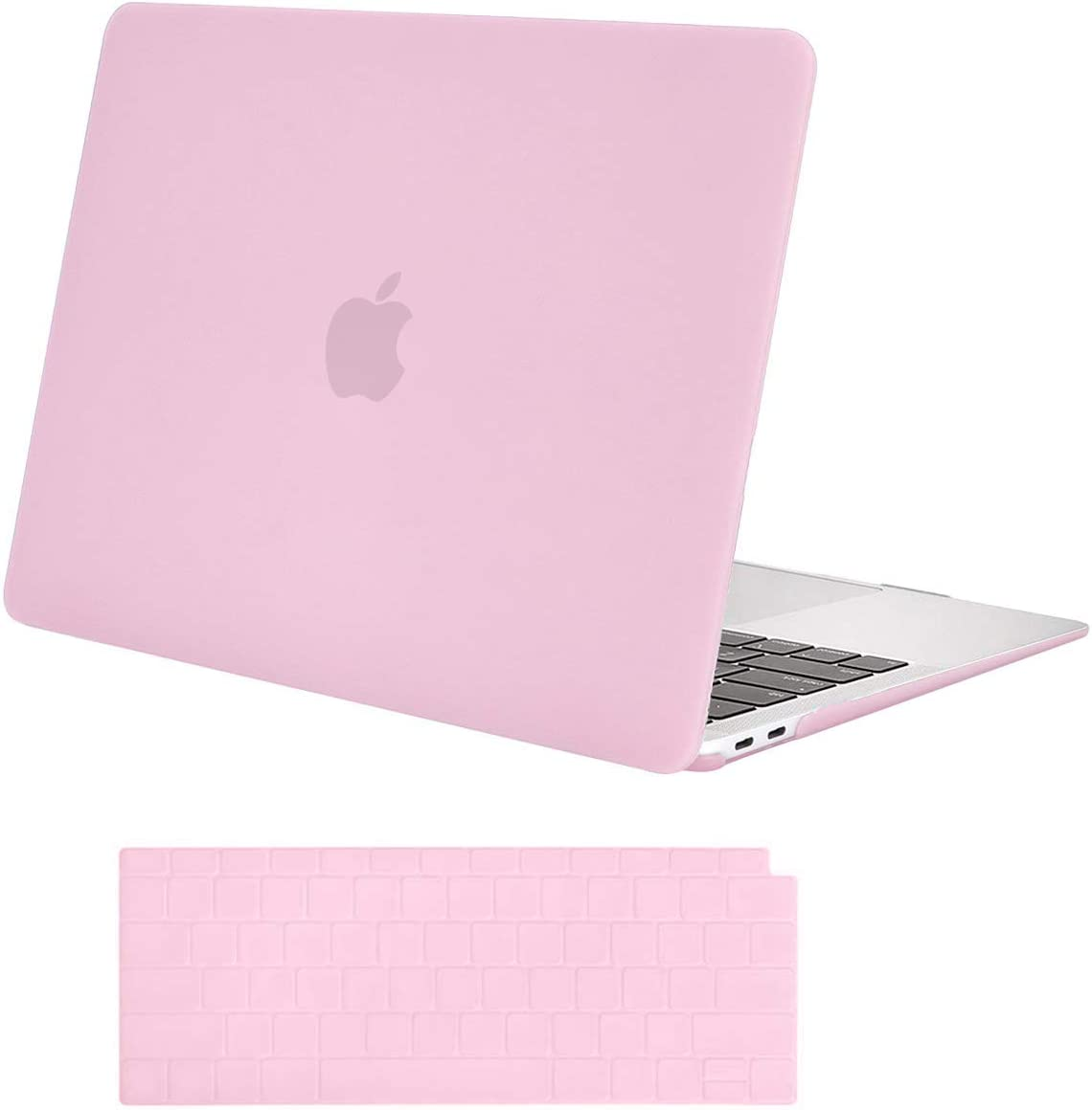 MOSISO MacBook Air 13 inch Case 2020 2019 2018 Release A2179 A1932 with Retina Display, Plastic Hard Shell Case & Keyboard Cover Only Compatible with MacBook Air 13 with Touch ID, Clear Pink