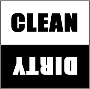 Dishwasher Magnet Clean Dirty Sign - 2.5 x 2.5 Inch Square Black & White Refrigerator Magnets - Funny Housewarming Gifts - Suitable for All Dishwashers!