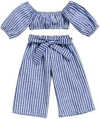 e129e9cd67a Tanhangguan 2Pcs Baby Girl Clothes Off Shoulder Striped Crop Tube Top and  Pants Summer Clothes Outfits
