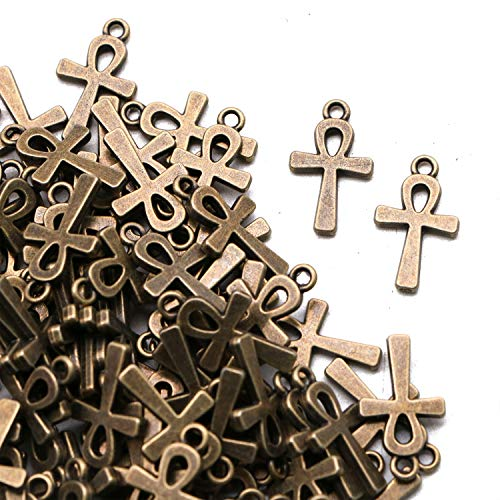 - JETEHO 100 Pcs Antique Bronze Ankh Egyptian Cross Charms Religious Cross Charms for Bracelet Jewelry Making