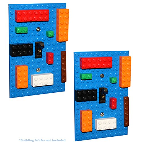 Set of 2, Light Switch Cover Building Brick Novelty Light Switch Plates (Blue), Compatible with All Major Brands