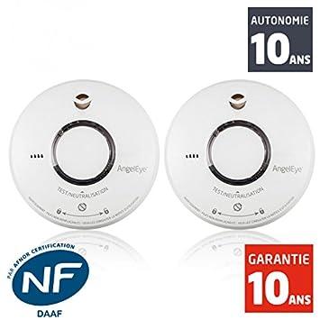 AngelEye - Detector de humo NF AngelEye Elegance Expert Duo st-ae620-fr - 10 años Autonomía - Garantía 10 Años: Amazon.es: Bricolaje y herramientas