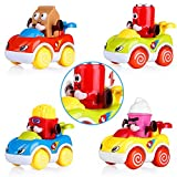 VATOS Friction Powered Push and Go Cartoon Car Toys Play Set, Toddler Toys Car Set of 4, Early Educational Toys Best Gifts for 1, 2 Years Old Boys and Girls