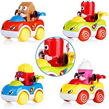 VATOS Car Toys for Baby 1-2 Year Old Boys & Girls, Cars for Toddlers Cartoon Push and Go Car, Toddler Toy Cars Set of 4, Best Toy Gifts for 1, 2 Years Old