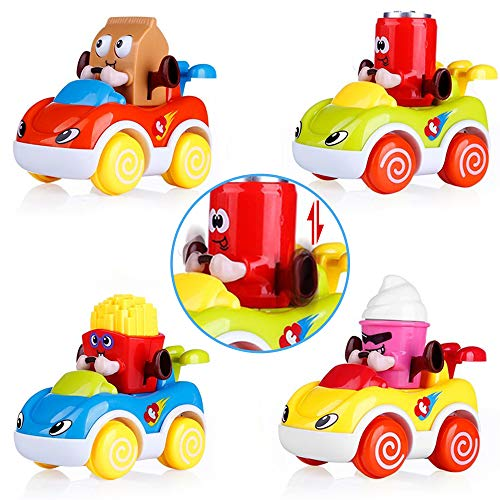 VATOS Car Toys Baby 1-2 Year Old Boys & Girls, Cars Toddlers Cartoon Push Go Car, Toddler Toy Cars Set of 4, Best Toy Gifts 1, 2 Years Old