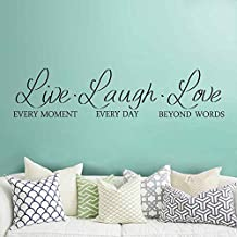 "BATTOO Live Laugh Love Wall Decal - Live Laugh Love Wall Decor - Inspirational Wall Decals - Wall Decals for Living Room - Live Laugh Love Quotes(Black, 8""h x34""w)"