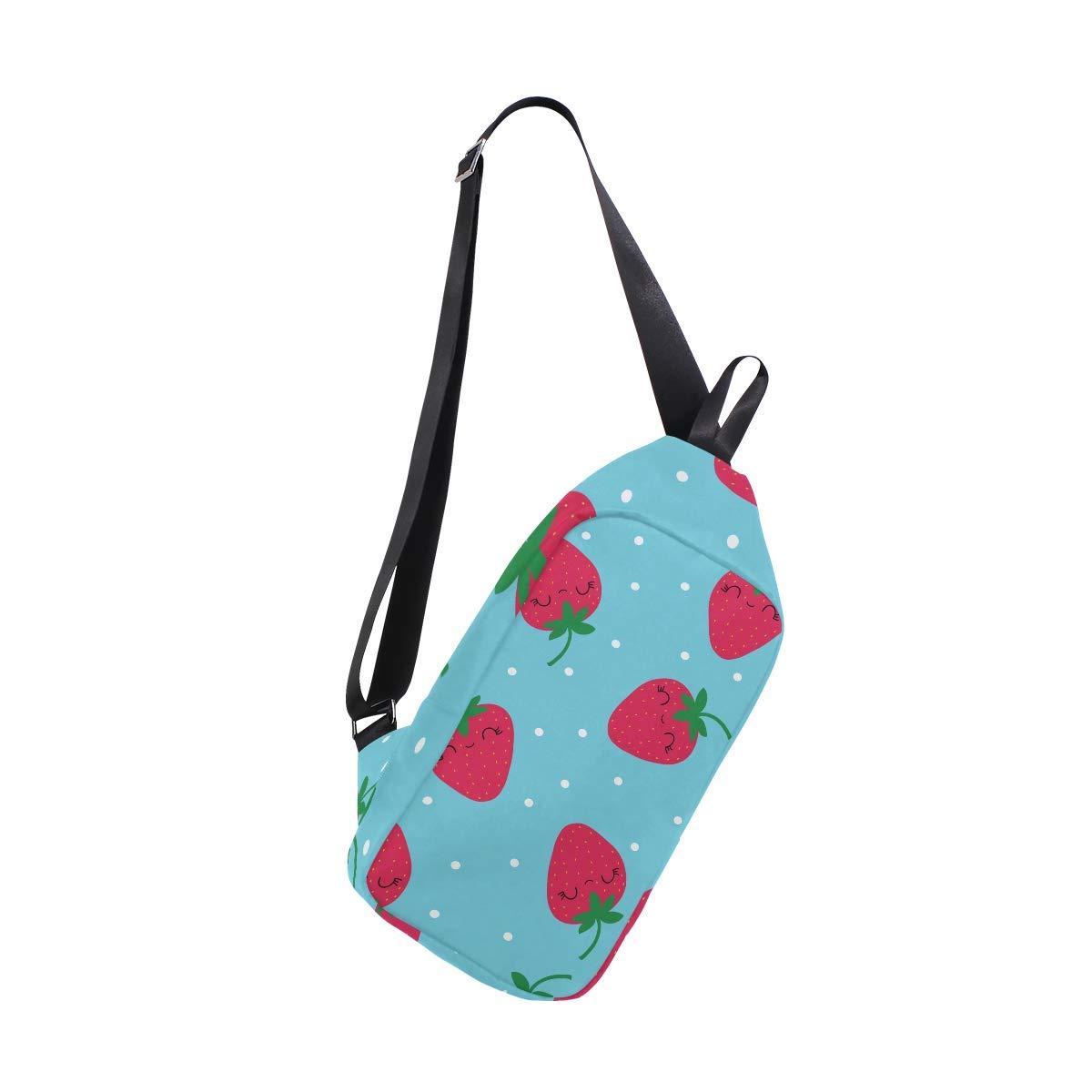 TFONE Strawberry Emoticons Pattern Crossbody Bag Lightweight Chest Shoulder Messenger Pack Backpack Sling Bag