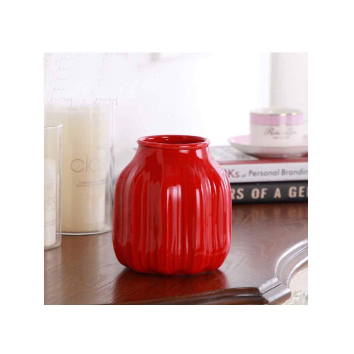 花瓶、厚いクリエイティブセラミック花瓶、モダンなミニマリストのお祝いデコレーションホーム、八角形の赤 (Color : Red 5) B07RRXCJL8 Red 5