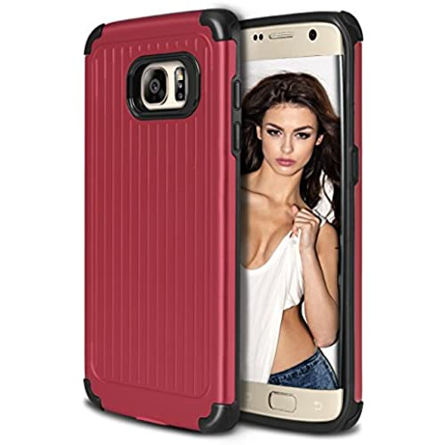Galaxy S7 Edge Case, Coolden Heavy Duty Galaxy S7 Edge Case Protective Bumper Cover Shock Proof Grip Cover Slim Fits Shell for Galaxy S7 Edge - Red Sales