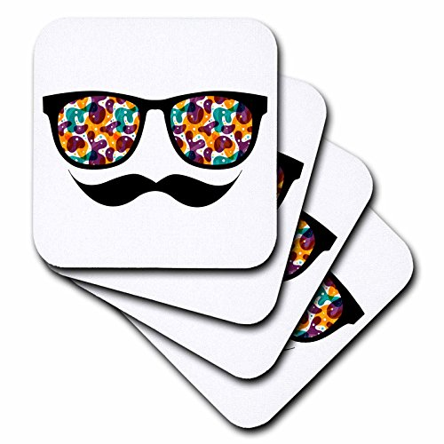 (3dRose cst_116508_3 Hipster Trendy Retro Color Blobs Shades Sunglasses and Mustache-Ceramic Tile Coasters, Set of 4)