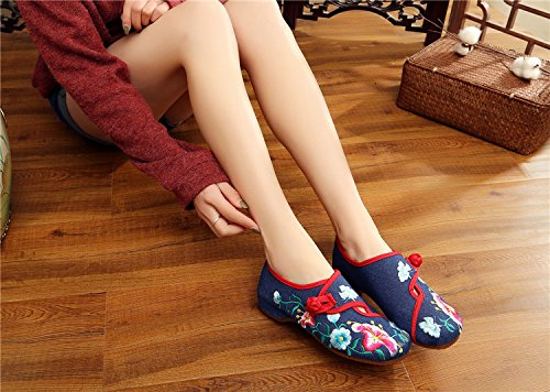 Deep Walking Shoes Blue Glory Womens Embroidered Flats Dancing National Square Morning Fanwer Casual Cloth w8Iq17