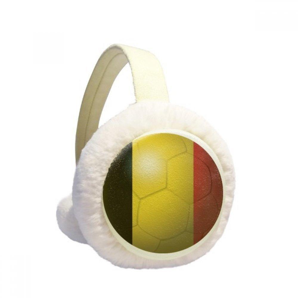 Belgium National Flag Soccer World Cup Winter Earmuffs Ear Warmers Faux Fur Foldable Plush Outdoor Gift
