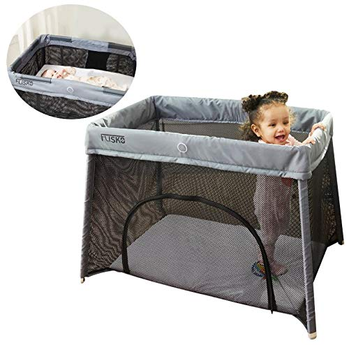 Flisko 2 in 1 Travel Crib & Bassinet - Lightweight, Pack Play-Yard for Infants & Toddlers. Simple Assembly & Easily Collapsible. Portable Crib | Playpen | Baby Bed. Mattress & Fitted Sheet Included (Best Travel Crib For Infant)