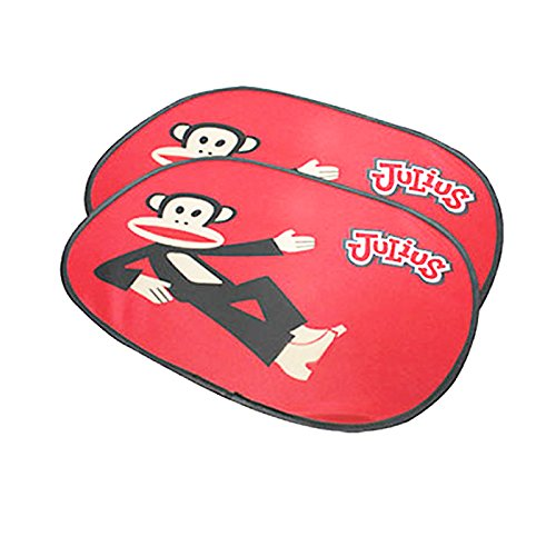 Paul Frank Babies - Paul Frank Car Sun Protector UV Protection Side Window Sunshade Windshield 2 Pcs Black or Red (Red)