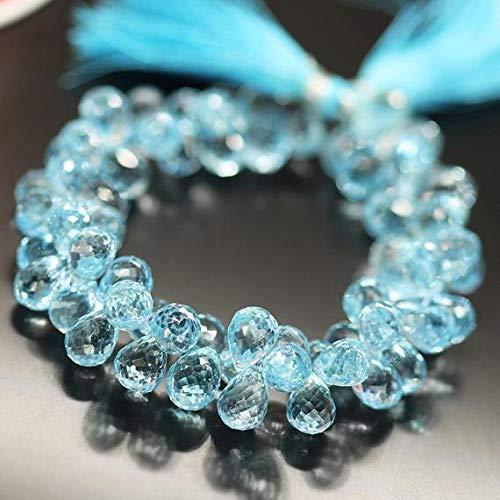(GemAbyss Beads Gemstone Sky Blue Topaz Tear Drop Briolette Loose Gemstone Craft Beads Strand 8 Inch Long 10mm 11mm Code-MVG-27993)