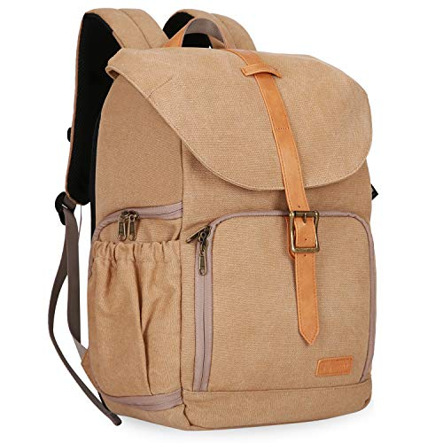 BAGSMART Camera Backpack, Anti-Theft DSLR SLR Camera Bag Water Resistant Canvas Backpack Fit up to 15″ Laptop with Rain Cover, Tripod Holder for Women and Men, Khaki