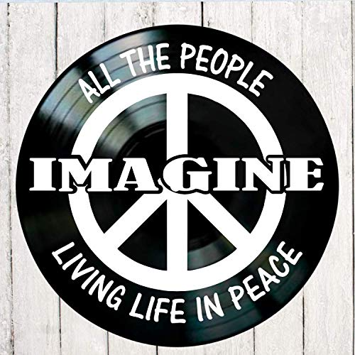 - Imagine song lyric art/inspired by Beatles/John Lennon Vinyl Record Album Wall Decor