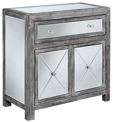 - Convenience Concepts Gold Coast Collection Vineyard Mirrored Cabinet, Weathered Gray/Mirror