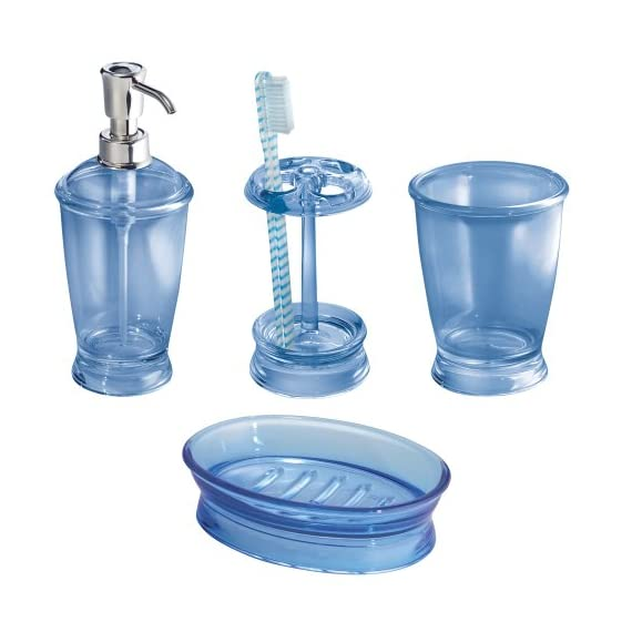 InterDesign Bath Countertop Accessory Set, Soap Dispenser Pump, Toothbrush Holder, Tumbler, Soap Dish - 4 Pieces, Cobalt -  - bathroom-accessory-sets, bathroom-accessories, bathroom - 5149dobyP5L. SS570  -