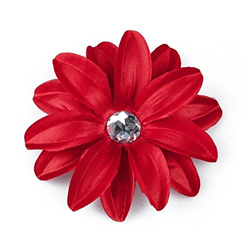 Barrette Hair Clip with Lily Flower and Strass for Baby Girls Women - Red P9S5