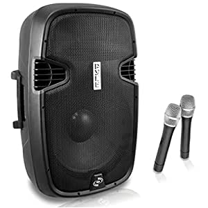 "Pyle 12"" 1000W BT portable Loudspeaker w/2 wireless mics and remote LCD readout rechargable."
