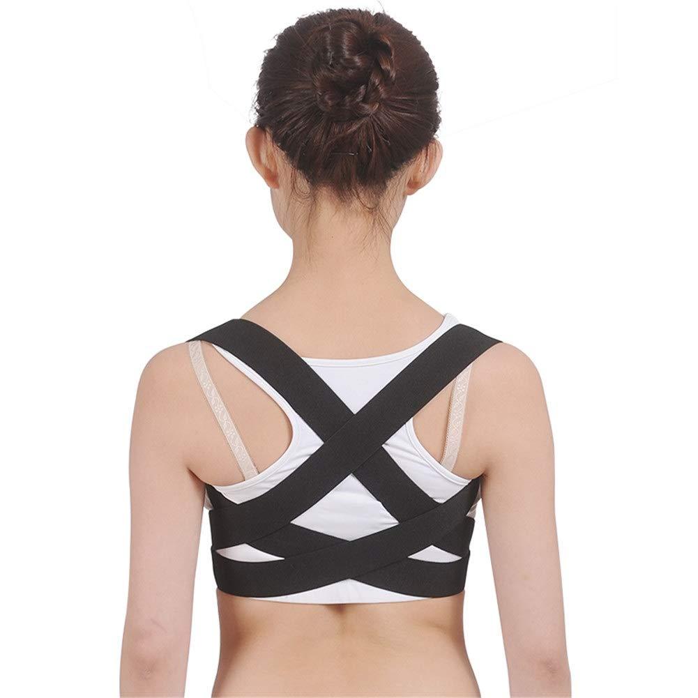 Corrector de postura Adult Children Posture Corrector, Shape The Perfect Body Support Brace for Back Shoulder Neck Pain Relief Clavicle-Black (Size : S50-70cm)