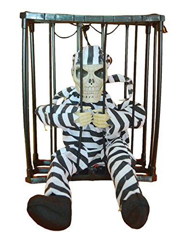 THEE Halloween Motion Sensor Hanging Caged Animated Jail Prisoner Skeleton Terror Decoration Flashing Light up Prop Toy -