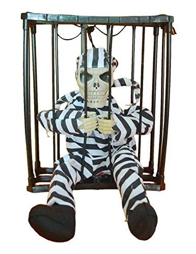 THEE Halloween Motion Sensor Hanging Caged Animated Jail Prisoner Skeleton Terror Decoration Flashing Light up Prop Toy]()