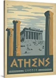 Anderson Design Group Premium Thick-Wrap Canvas Wall Art Print entitled Athens, Greece - Retro Travel Poster
