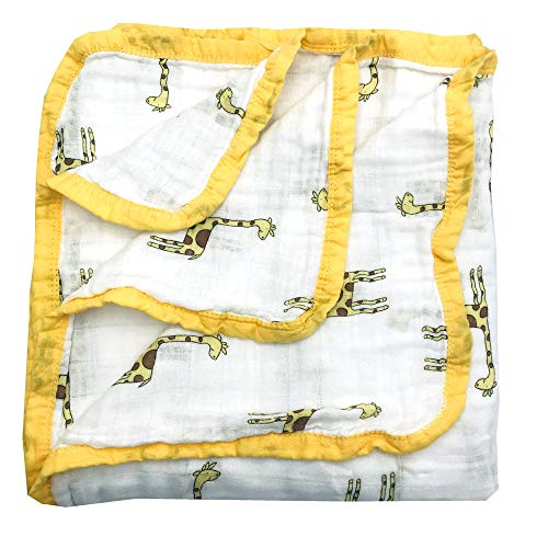 HGHG Bamboo Cotton Muslin Stroller Blanket - 4 Layers Toddler Blanket Super Soft from (Fawn, Large)