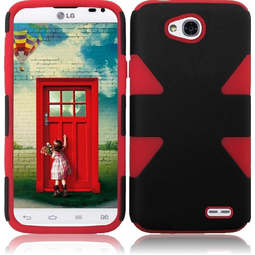 Chili Red Double Protection Hi-Tech DURABLE Two in One Hard and Silicon Cover Case for LG Ultimate 2 L41C (by Net10 , Tracfone , Straight Talk) with Free Gift Reliable Accessory Pen