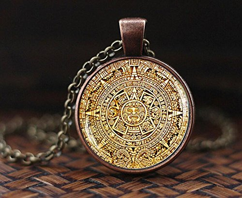 Mayan Calendar pedant, Mayan Calendar Jewelry, Aztec Calendar Necklace, Mayan Pendant, Mayan Jewelry, glass dome pendant, mens necklace
