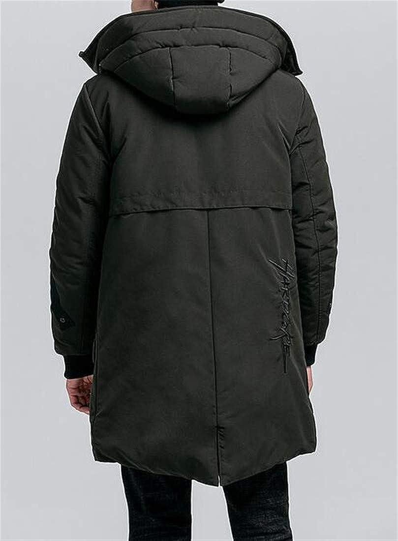 Wofupowga Mens Overcoat Winter Hooded Cotton-Padded Jacket Warm Parkas Coat