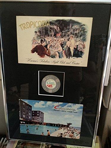 Havana Cuba rare postcards and Casino chip framed 1960s