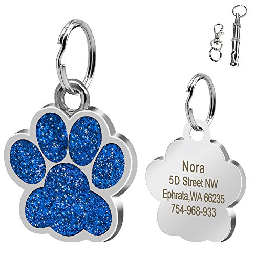 Didog Large Glitter Paw Print Custom Pet ID Tags for Medium Large Dogs and Cats,Personalized Egraving,Blue - Husky Paw Print