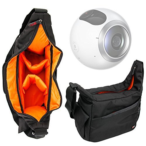 Durable Shoulder `Sling` Bag in Black & Orange Compatible with the Samsung Gear 360 by DURAGADGET