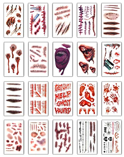 Yusongirl Horror Realistic Fake Bloody Wound Stitch Scar Scab Waterproof Temporary Tattoo Sticker Halloween Masquerade Prank Makeup Props (20pcs (20patterns,1pcs Each Patterns)) -
