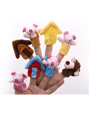 Aofocy Marionetas de Dedo Animales de Dibujos Animados Los Tres cerditos Animal Marioneta de