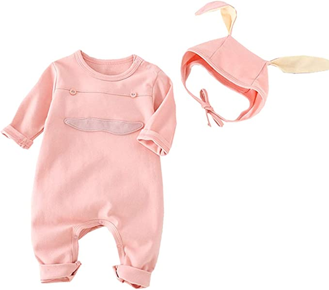AIKSSOO Easter Outfits Baby Girls Boys Bunny Jumpsuit Bodysuit Romper Infant Newborn with Rabbit Hat