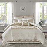 Madison Park Mindy 9 Piece Cotton Percale Comforter Set White/Tan King, Multi