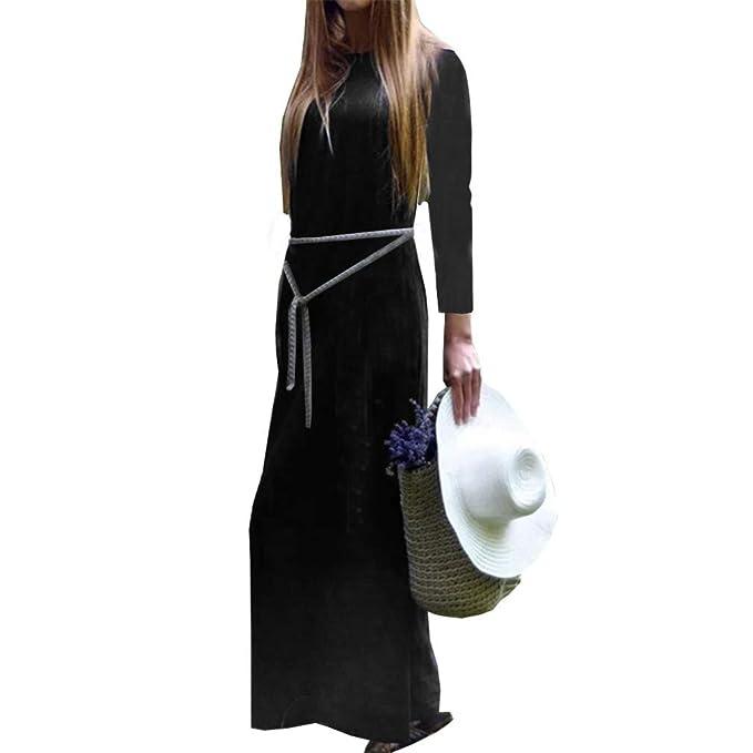 3d323e1a91 YUCH Vestido Largo De Manga Larga De Lino De Algodón Faldas Largas De Las  Mujeres  Amazon.es  Ropa y accesorios