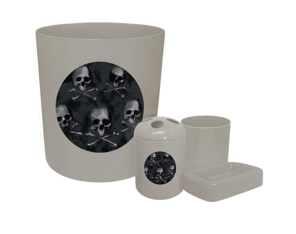 4 Piece Gray Plastic Bathroom Accessory Set Featuring Your Choice of a Skull or Zombie Themed Vinyl Decal (Skulls on Grey)