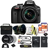 Great Value Bundle for D3400 DSLR – 18-55mm AF-P + 2PCS 16GB Memory + Wide Angle + Telephoto Lens + Case