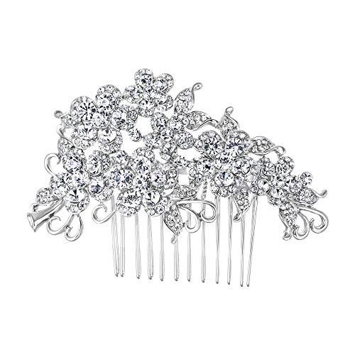 EVER FAITH Bridal Hair Comb Flower Cluster Clear Austrian Crystal -