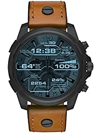 On Men's Full Guard Black IP and Leather Smartwatch DZT2002, Color: Brown