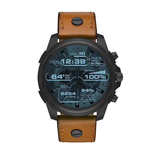 Diesel On Men's Full Guard Black IP and Leather Smartwatch DZT2002, Color: Brown