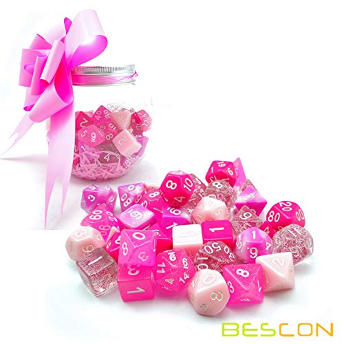 Bescon Polyhedral RPG Dice Full 35pcs Blossom Set, DND Role Playing Game Dice 5X7pcs ()